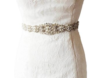 Crystal Wedding Belt, Satin Rhinestones Belt, Pearls Bridal Belt, Wedding Belt, Flower Girl Belt, Crystal Wedding Belt, PearlBelt,Sash Belt