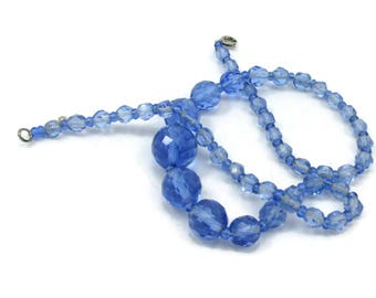 Light Blue Faceted Plastic Bead Necklace Single Strand Choker 17 Inches  Designer Vintage Costume Jewelry Runway Bridal Blush