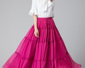 hot pink skirt for women, chiffon maxi skirt, summer skirt, bridesmaid skirt, ruffle skirt, drawstring skirt, boho skirt, plus size 1908