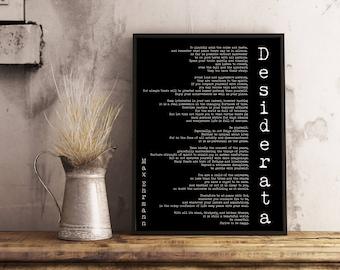 Poem Art Desiderata Print, minimalist poster, Max Ehrmann Literary Poster, literary quote print, motivational poster, office wall art
