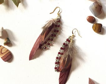 Brown Feather Ruby Earrings