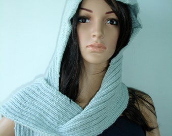 Kitty Hood Scarf with pockets - ready to ship
