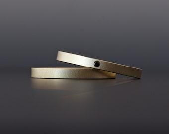 Black Diamond Gold Ring Set - 18K Gold - Matte Finish - Miminalist Wedding Bands - Diamond Engagement Ring Set - Artisan Custom Made