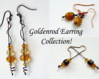 Goldenrod Earring Collection! 3 pair Wild Flower Themed Earrings! Handmade Gold, Citrine, Copper,