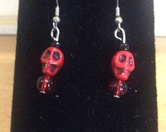 Red Scull Earrings