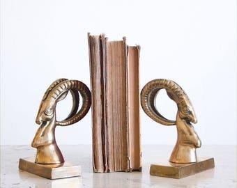 Vintage Brass Gazelle Bookends / Hollywood Regency Decor