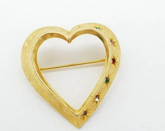 ON SALE Vintage Signed Accessocraft Rhinestone Studded Gold-Tone Open Heart Brooch