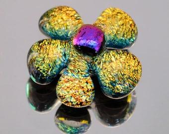 Dichroic Cabochon, Flower Cabochon, Dichroic Flower Cabochon, Unique Dichroic Flower Tile, Handmade Mosaic Tile, Mosaic Dichroic Tile