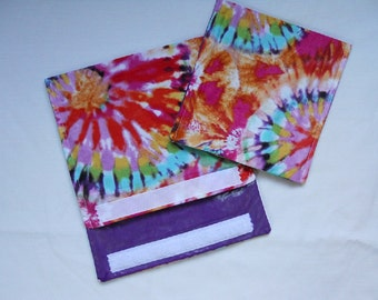 Laminated Fabric Snack and Sandwich Bags in Rainbow Tie Dye Set of 2