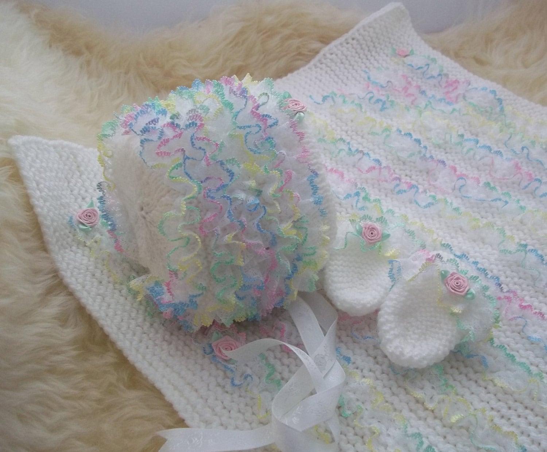 Baby Knitting Pattern - Girls Lace Pram Blanket, Baby Hat & Mittens ...