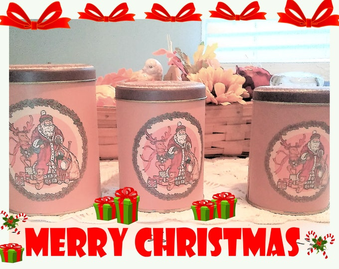 Christmas Vintage Metal Canister Set with Matching Tops, In Excellent Condition, W/ Reduced Shipping