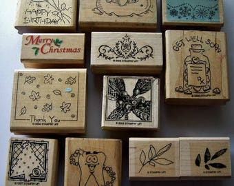 Wood mounted rubber stamp lot, Chrstmas card stamping, Destash stamps, Card making, Scrapbooking supplies, Used Rubber stamp assortment