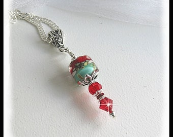 Teal and red necklace, 2453, Red crystals, gifts for her, red necklace, teal necklace, sterling silver necklace, red jewelry, gifts for mom