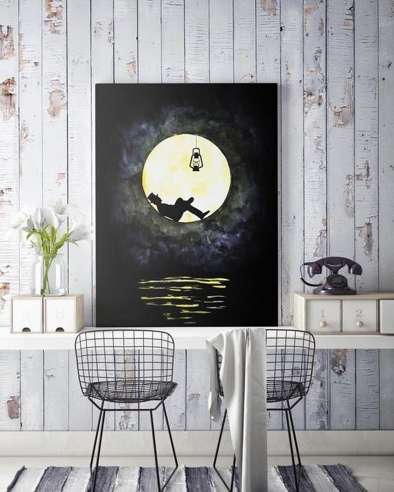 The lunatic canvas | Man in the moon framed canvas | Dark Wall art | Original artwork | Lightbulb | Lighthouse | ZuskaArt |