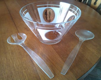 Vintage 1950's Salad Bowl with serving Fork and Spoon