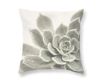 Grey Succulent Throw Pillow, Botanical Print Pillow, Echeveria Photography Pillow, Nature, Summer, black and white, gray, teal -NO. 1221