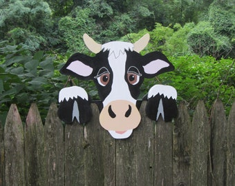 Handmade custom painted Cow fence sitter