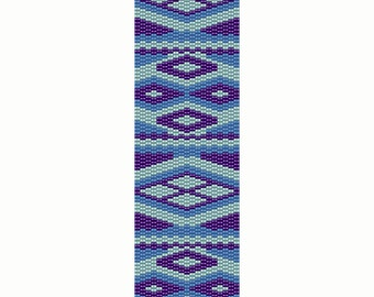 Geometric 20 Peyote Bead Pattern, Bracelet Cuff, Blue, Bookmark, Seed Beading Pattern Miyuki Delica Size 11 Beads - PDF Instant Download