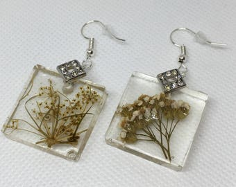 Pressed Flower Dangles (small, square)