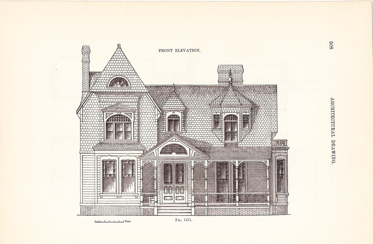 Line Drawing Of Your House : Architecture print house vintage antique art