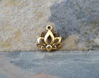 Lotus Charm Antique Gold boho jewelry pendant C111,gold lotus charm,lotus charm,lotus flower charm,golden lotus,boho lotus charm,yoga charms