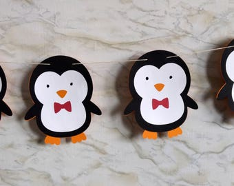 Penguin with Red Bow Tie Garland