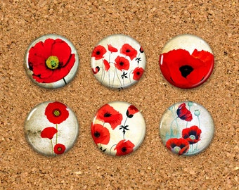 Poppy Thumbtacks, Flower Push Pins, Poppy Magnets, 6 thumbtacks for corkboard, 6 Magnets for Magnetic Whiteboards or fridge 1""