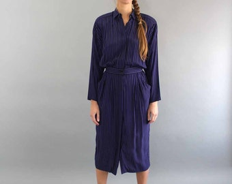 purple & black striped dress . vertical stripe dress . 1980s dress medium