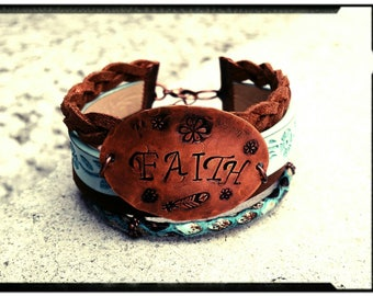 FAITH - Leather/Suede/Copper Wrap Bracelet - Hammered & Stamped Copper - Boheimian/Gypsy Inspired Wrap Bracelet - Gift