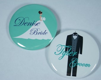 Wedding Party Pinback Buttons - Set of 10 Personalized Buttons, Bride, Groom, Groomsmen, Bridesmaids