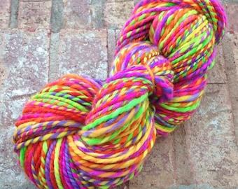 Neon Rainbow Clown Barf OOAK handspun 2 ply yarn 156 yards 119g/4.2 oz.