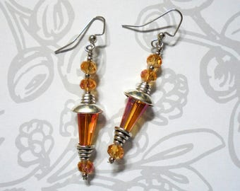 Orange Crytal Boho Earrings (3783)