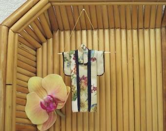 "Tiny Ornament. ""Garden Tryst."" Fabric Origami Kimono: Handmade . Hang it, Frame it, Give it."