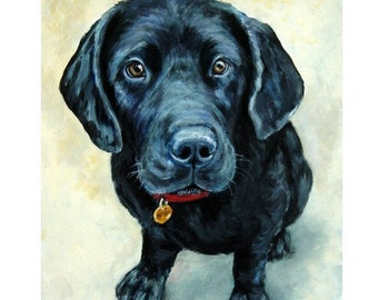 Labrador Retriever Art Print. Dog art Painting by Dottie Dracos, Black Lab Pup