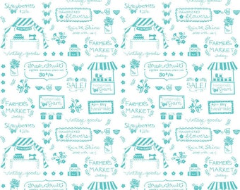 Vintage Market Riley Blake cotton fabric - Vintage Text VM4563 Aqua, select a length