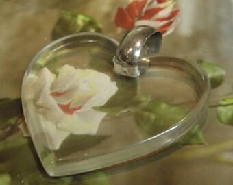 Vintage Lucite Heart Pendant