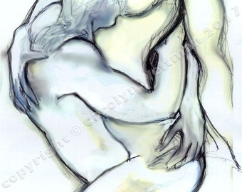 Erotic Art Print, Homoerotic Art, Male Nudes, Mature - Michael Holding Christopher