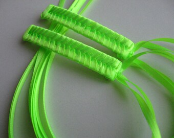 Neon Green Braided Ribbon Barrettes - 1980s Style Hair Accessories for Girls and Women