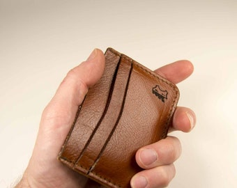 No.'01   'Saddle Tan' Leather Card Holder, Brown, Vegetable tanned, Full Grain, Handmade Wallet