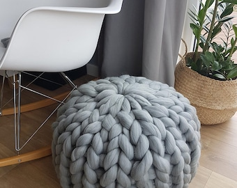NEW Chunky knitted pouf, knitted pouffe, knitted pouf ottoman, CHUNKY knit pouffe, giant loop pouf. Chunky crochet pouf, floor pillow