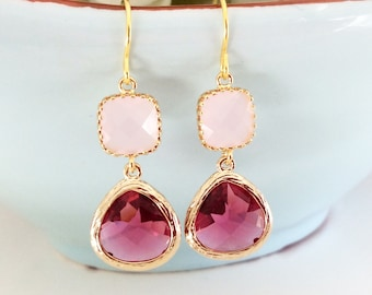 Blush Wedding, Dangle Earrings, Pink Blush Earrings, Blush Pink, Bridesmaid Earrings Bridesmaid Pink Earrings, Girlfriend Gifts, Best Friend