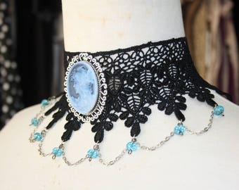 Black Venice lace choker, blue  charms , victorian ,rococo , gothic style