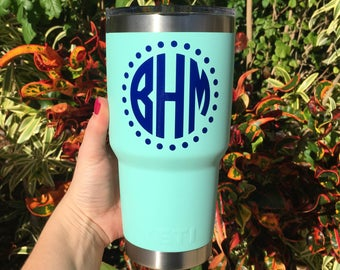 Personalized Vinyl Decal for Yeti Duracoat 30oz, Monogrammed Vinyl Sticker for Yeti Cup, Stickers for 30oz Duracoat Yeti, DECAL ONLY