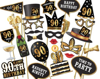 90th birthday Photo Booth props - Instant Download printable PDF. ninetieth birthday party Photo Booth supplies. 90 Ninety Today - 0194