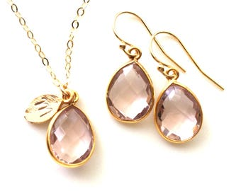 Blush Necklace, Blush Bridesmaids, Blush Bridesmaids Earrings and Necklace, Peach, Blush, Champagne, Blush Wedding Jewelry