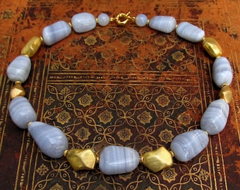 Blue Lace Agate Necklace with Gold Plated Accent Beads - Chunky NATURAL Gemstone Necklace - Artisan Handmade Jewelry