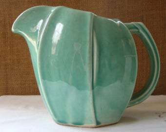 Vintage TURQUOISE GREEN MCCOY Pitcher Water Pitcher Antique McCoy Ohio Pottery Co Ameircana Turquoise Green Pottery Pitcher