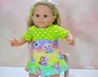 14 inch baby doll clothes, 15 inch doll dress, Bitty Baby Doll Dress, , 15 inch doll outfit,  doll play clothes, baby doll dress, 01-2725
