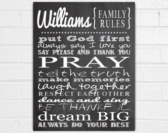 Personalized Family Rules Wall Art - Family Wall Sayings Quotes - In this House Sign - House Rules - Christian Wall Decor - Family Christmas