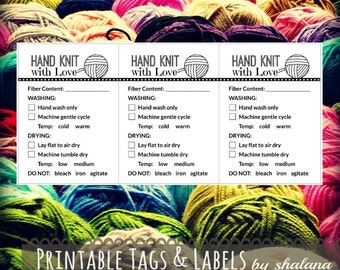 "Care Instruction Printable PDF Cards for Knitters - ""Hand Knit with Love"" Labels or Tags for DIY Handmade Knitted Crafts"